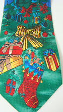 Christmas Tree Holiday Tie Red Yellow Bows Presents Green Blue Background Poly