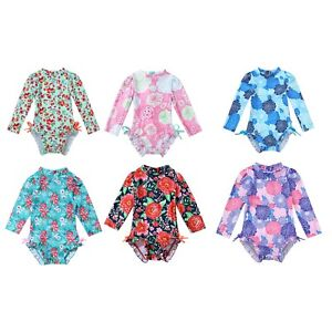 Infant Baby Girls One-piece Long Sleeves Floral Printed Swimwear Suit Rash Guard
