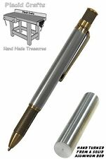 Knurl Ballpoint Pen with Solid Aluminum Body & Antique Brass Hardware / #088