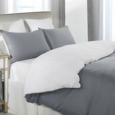 Duvet Cover 3 Piece King Size Quality Soft Bedding Reversible Colors Grey White