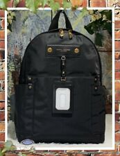NWT MARC JACOBS Large Preppy Nylon Backpack In BLACK with Gold-Tone Hardware