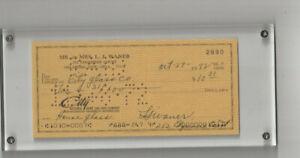 Pittsburgh Pirates & HOF'er Lloyd Waner  autographed 1972 check