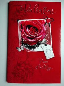 For My Valentine Rose Butterfly & Tag Design Bright Modern Valentines Day Card