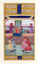 Hand Painted Mughal Darbar Painting Finest Miniature Persian Style Art On Paper