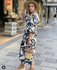 H&M x DESMOND & DEMPSEY LINEN PALM TROPICAL DRESS. SOLD OUT! SIZE M New Bnwt