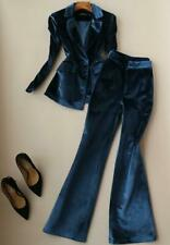 Womens Velvet Blazer Suits Slim Fit One Button Jacket Long Pants Casual Trousers