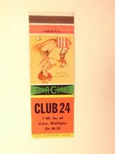match book cover w/ pin-up style girl : ad for Club 24, Caro, Michigan
