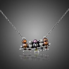 Antique Silver Birds on a Branch Enamel and Clear Crystal Necklace   #N201