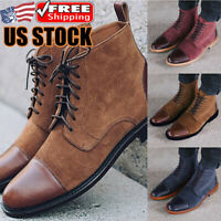 Men's Leather Ankle Boots Lace Up Dress Shoes Casual Formal Party Chelsea Boots