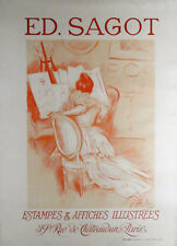 c1899, PAUL CESAR HELLEU, ANTIQUE 19thC ORIGINAL FRENCH LITHOGRAPH POSTER PRINT