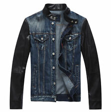 2014 Mens retro motorcycle faux leather sleeve Denim Jean Jacket Coat Style