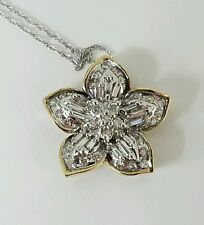 **10KT TWO-TONE FLOWER DIAMOND PENDANT 1 CTTW WITH 18 INCH WHITE GOLD CHAIN**