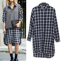 New Womens Ladies Shirt Dress Tunic Long Sleeve UK Size 14 16 18 20 22 24 #40061