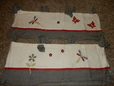 Set of 2 Lambs & Ivy Secret Garden Butterfly Dragonfly Gingham Window Valances