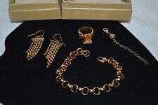 Gold Over Sterling Silver Jewelry Lot_Ring w/Orange Stone, Bracelet, & Earrings