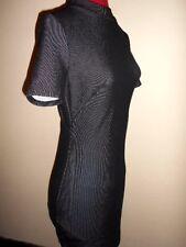HEART ON FIRE stretch DRESS size 10 black &white stripe bodycon work casual club