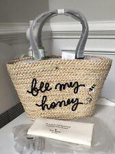 Kate Spade Picnic Bee My Honey Straw/leather Tote Handbag Purse Bag
