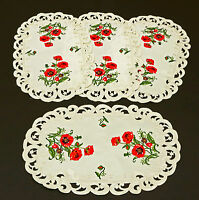 Red Poppy and Green Leaf Cut Work Place Mats Set of 4 17x11 inches