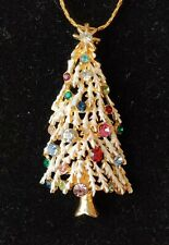 """Vintage Christmas Tree Crystal Covered Tree Necklace 30"""" Chain Stunning Sparkle"""