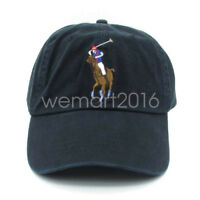 Men's Women's Polo Embroidered Big Pony Sports Golf Chino Hat Black Ball Cap O/S