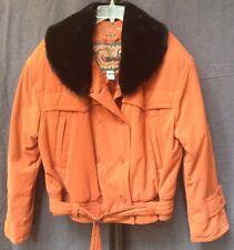 Designer MONDI Burnt Orange Faux Fur Quilted Brushed Cotton Jacket Coat EU 42