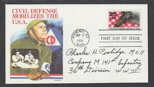 Charles H. Coolidge, Medal of Honor Recipient, signed 29c Civil Defense, fresh