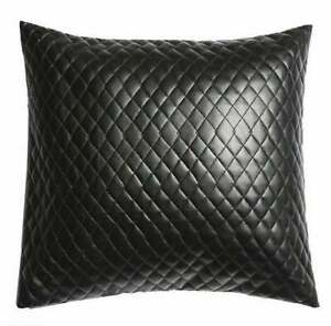 NOORA Leather Black Pillow Cover Decorative For Couch Throw Pillow Handmade BS21