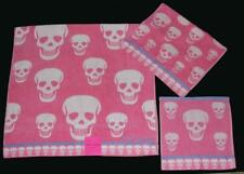 3 Betsey Johnson Crazy Skulls Pink Lilac Bath/Hand/Wash Cloth Towels Set Nwt