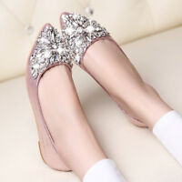 Women's Ladies Rhinestone Shoes Low Heel Flat Casual Pointed Toe Pumps Prom Slip