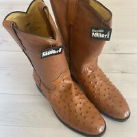 BEN MILLER BM Brown leather cowboy boots size 8 EE