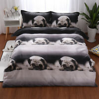 Pug Dog Doona Duvet Quilt Cover Set Single Queen King Size Animal Bed Cover