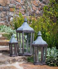 Wood Galvanized Metal Lantern Set of 3 Lanterns