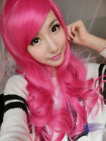 Women's Long Curly Wavy Hair Full Wigs Hot Pink Cosplay Party Costume Stylish