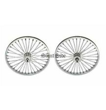"Lowrider Dragster Bicycle Chrome 20"" 36 Twisted Spoke Front Rear Whitewall Tyres"
