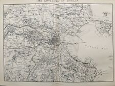 1837 Antique Map; The Environs of Dublin - SDUK / Charles Knight