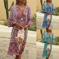 Women Ladies Summer Maxi Bohe Flowers Print Button Down Flare Sleeve Loose Dress