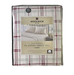 Woolrich Queen 4pc Sheet Set 100% Cotton Flannel Red Beige Plaid