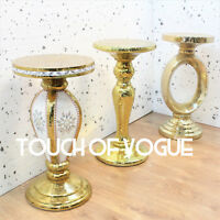 Gold Mirrored SideTable Modern flower Stand Bed Side modern diamante Romany