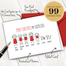 Personalised Xmas Cards x10 • Family Christmas Characters Figure Illustrations