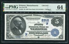 1882 $5 DB THE FIRST NB OF WEBSTER, MA NATIONAL CURRENCY CH. #2312 PMG UNC-64