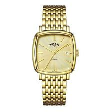 Men's Quartz (Battery) Rotary Gold Plated Strap Wristwatches