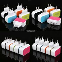 3 Ports Multi USB Charger Adapter Travel Wall AC Power Supply UK/EU/US Plug