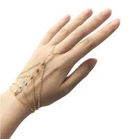 Wedding Crystal Link Finger Ring Slave Chain Hand Harness Bracelet Bangle J