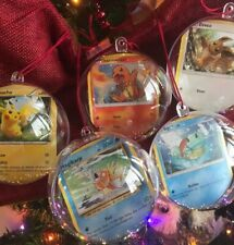 5 Custom Pokemon Card Christmas Ornament Charmander Pikachu Squirtle Eevee Magik