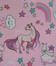 Telas de policotton Unicornio Niños Lila recortes de Arco Iris Craft