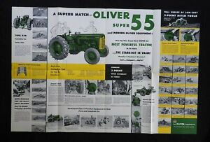 """1954 """"THE OLIVER 2-3 PLOW SUPER 55 TRACTOR"""" CATALOG FOLD-OUT POSTER BROCHURE"""