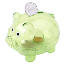 Green Clear Glass Piggy Bank Coin Money Cash Collectible Saving Box Kids Gifts