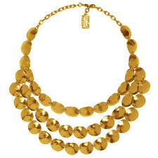 Karine Sultan Matte 24k Goldplate Lucie Statement Necklace,3 Rows,Hammered Shell