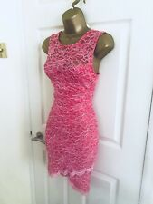 Lipsy Pink Lace Floral Party Evening Mini Bodycon Sexy Occasion Dress Sz 6 £55