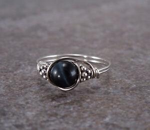 Sterling Silver Blue Tiger Eye Bali Bead Ring